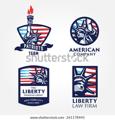 Set of Attractive and Memorable, Solid And Bold Liberty Statue Badges. Conveys such values as Liberty Freedom Justice Truth Equity Pride Honor Patriotism Fairness Dreams Aspirations Ambitions. - stock vector