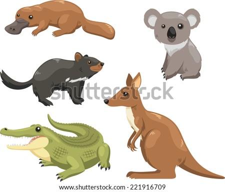 Set of australian animals. - stock vector