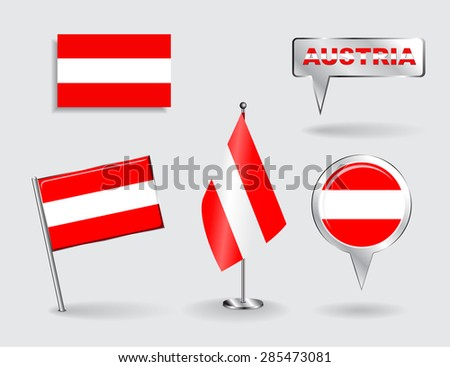 Set of Austrian pin, icon and map pointer flags. Vector illustration. - stock vector
