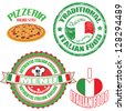 Set of authentic italian food stamp and labels on white background, vector illustration - stock vector