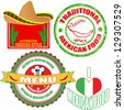 Set of authentic mexican food stamp and labels on white background, vector illustration - stock vector