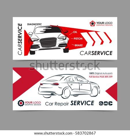 Set Auto Repair Service Banner Poster Stock-Vektorgrafik 583702867 ...