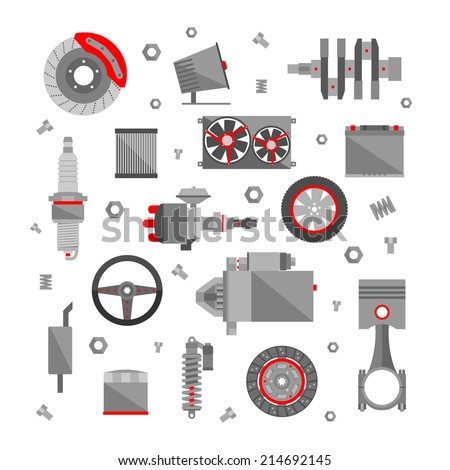 Set of auto spare parts isolated on white background.  Car repair icons in flat style. Vector illustration EPS10. - stock vector