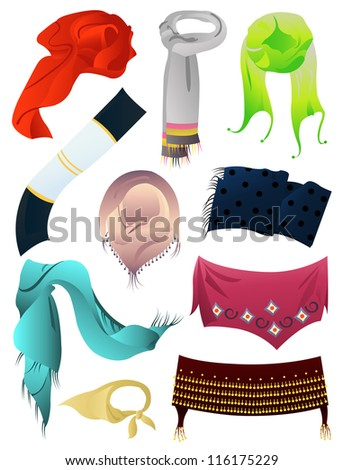 Set of autumn and winter scarves, vector illustration