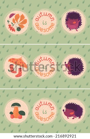 Set Of Autumn Cards With Hedgehogs - stock vector