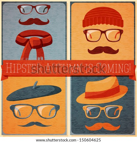 Set of autumn dressed hipster faces on the grunge retro background, with text ribbon which can be changed on your text. Vector - stock vector