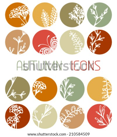 Set of autumn flat icons. Flowers, grass and butterflies silhouettes. Autumn design. - stock vector
