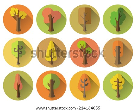 Set of 12 autumn round icons with long flat shadow. Various autumn trees on coloured circles for your design. Isolated on white background.