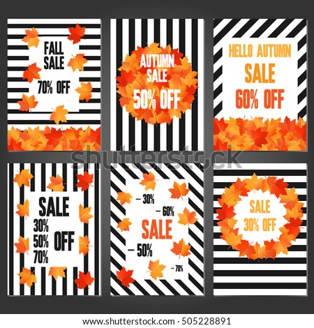 Set Autumn Sale Banners Promotional Flyer Stock Vector 505228891