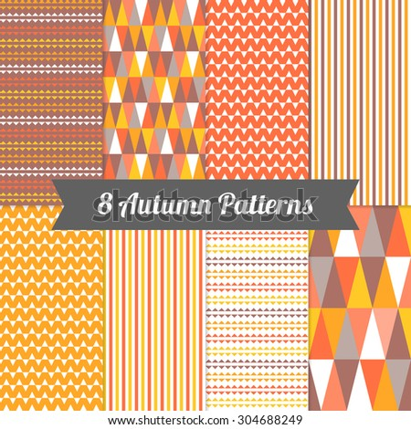 Set of Autumn Seamless Patterns with Stripes and Triangles in Yellow, Orange, Deep Orange, Brown and White. Perfect for wallpapers, pattern fills, background, textile, greeting cards - stock vector