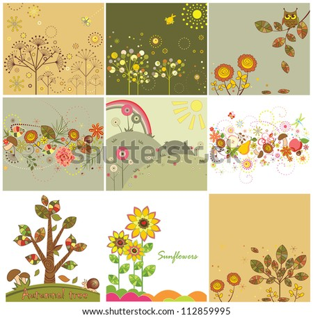 Set of autumnal abstract cards - stock vector