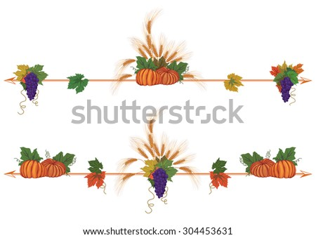 set of autumnal vector borders with pumpkins (EPS 10) - stock vector