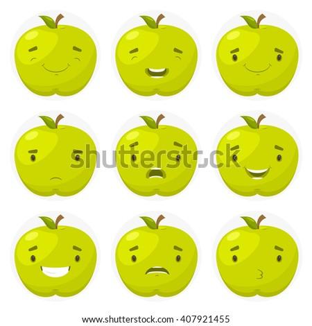 Set of avatars in a fun apples. Vector illustration - stock vector