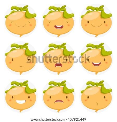 Set of avatars in a fun turnips. Vector illustration - stock vector