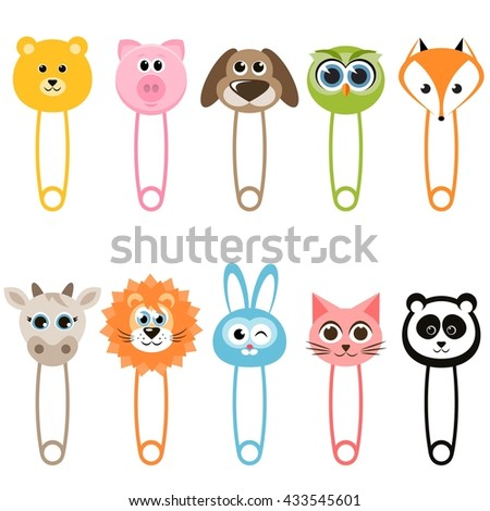 Set of baby animal safety pins - stock vector