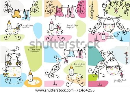 Set of baby cards - stock vector