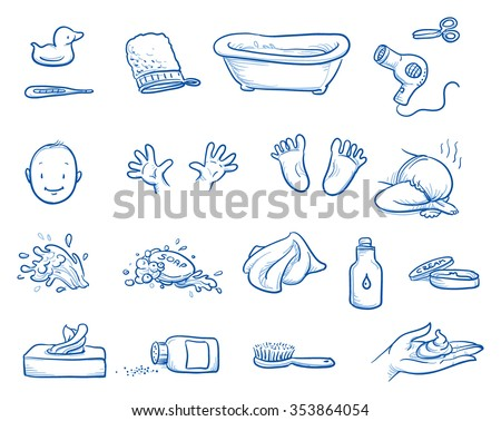 Set Baby Care Icons Bath Tub Stock Vector 353864054 ...