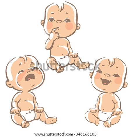 Set of baby emotion icons. Cartoon little babies 6-12 months, in diapers, sitting, laughing, crying, curious baby. Sad, happy, thoughtful kid. Sketchy style.  Colorful vector  illustration isolated. - stock vector