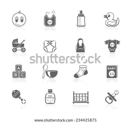Set of baby icons - stock vector