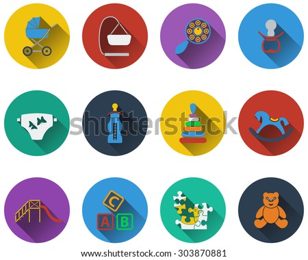 Set of baby icons in flat design - stock vector