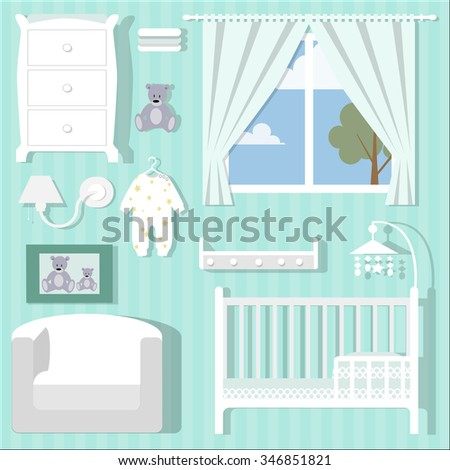 Set of Baby room with furniture/Children's room/Children's interior/Nursery interior/Flat style vector illustration/Baby room/Nursery room/Baby room in Flat style/furniture/toys/curtains/pajamas - stock vector