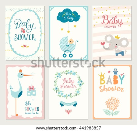 set of 6 baby shower cards with floral wreath frames elephant baby carriage