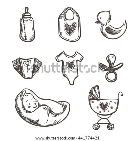 Set Baby Shower Icons Diaper Crawler Stock Vector 441774421
