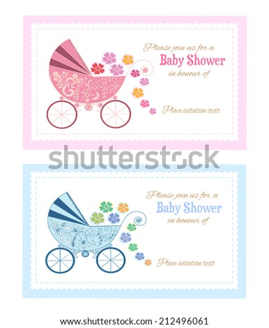 Set of 2 Baby shower invitation cards. - stock vector