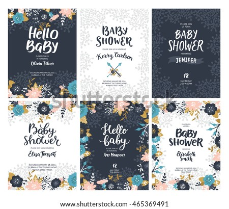 Set baby shower invites vector unusual stock photo photo vector set of baby shower invites vector unusual templates boho floral cards with flowers stopboris Images