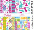 Set of 12 Baby Themed Vector Backgrounds (4 are seamless) - stock photo