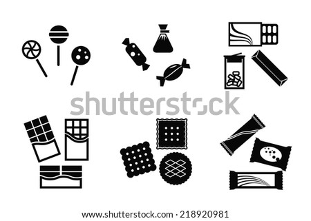 Set of back and white sweets isolated. Candy, chocolate, cookie, lollipop, gum - stock vector