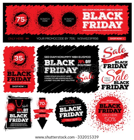 Set of back friday sale. Black friday banner. Vector illustration. Grouped for easy editing. - stock vector