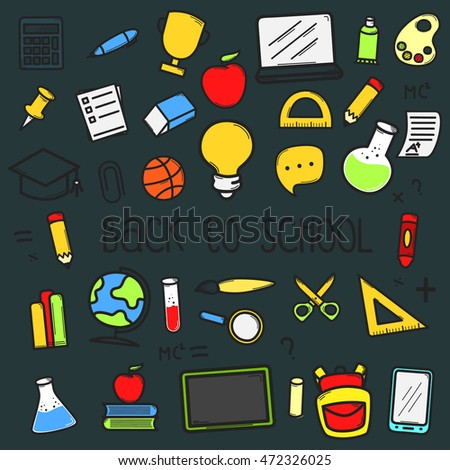 Set of back to school doodle icons