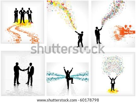 Set of backdrops depicting businessmen - stock vector