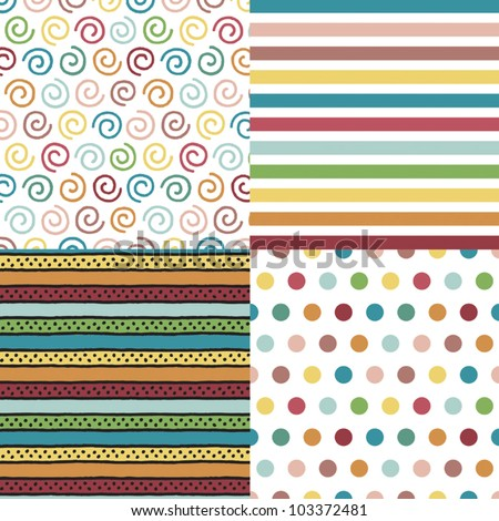 Set of 4 background patterns in bright vintage colors. Can be used for Scrapbook, Greeting Cards, Gift Wrap, Wallpapers or surface textures. See my portfolio for JPEG versions. - stock vector