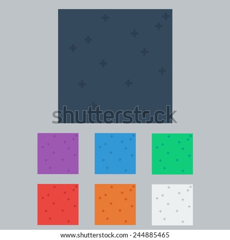 Set of Background With Cross Icon Pattern, Vector.Colored Pattern with Plus. Vector Illustration - stock vector