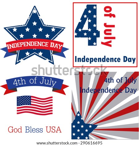 Set of backgrounds for independence day with different elements. Vector illustration