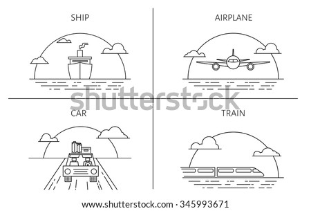 set of backgrounds in the line style with sun behind. Travel and tourism by ship, plane, train or car. - stock vector