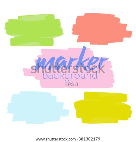 set of backgrounds of the marker lines of different colors : pink, green , yellow , blue. Vector set sketched design elements for banner, scrapbook, craft, card, poster.  - stock vector