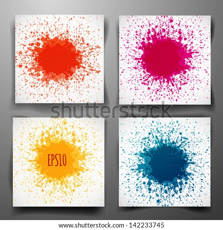 Set of backgrounds with big splashes in autumn colors. Vector illustration. - stock vector