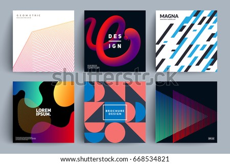 Set of backgrounds with different designs. Minimal, fluid color, retro, geometric covers. Eps10 vector illustration.
