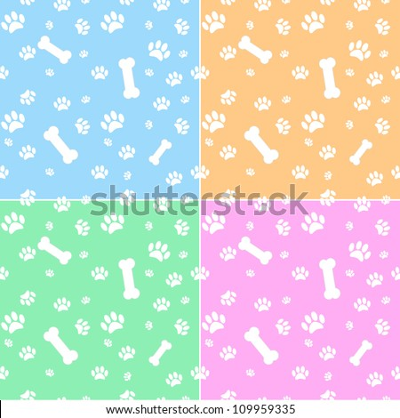 Set of backgrounds with dog paw print and bone in different colors - stock vector