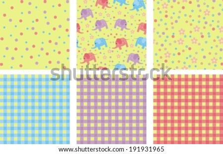 set of backgrounds with elephants, flowers - stock vector