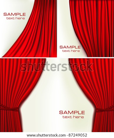 Set of backgrounds with red velvet curtain. Vector illustration. - stock vector