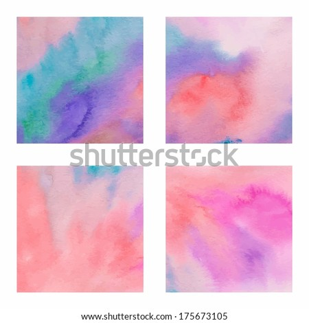 Set of backgrounds with squares watercolors gradient - vector illustration - stock vector