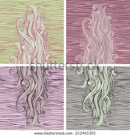 Set of backgrounds with waved hair - stock vector