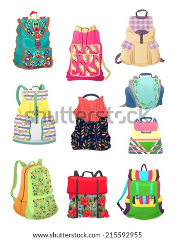 Set of  backpacks for young girls with beautiful patterns, ornaments, etc. - stock vector
