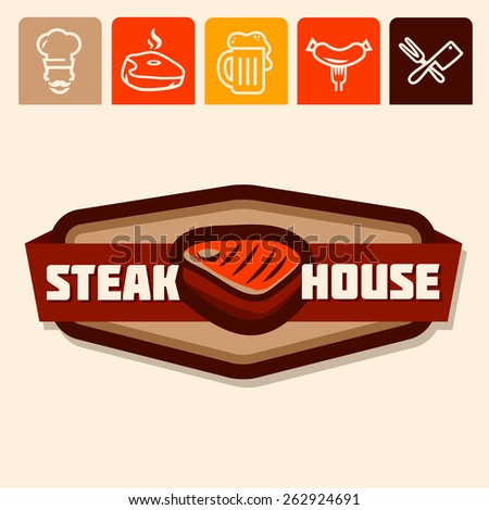 Set of badge, label, logo, icons design templates for meat store, grill menu - stock vector