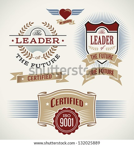 Set of badges and banners made in vintage style. Editable vector illustration. - stock vector