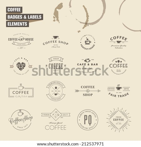 Set of badges and labels elements for coffee - stock vector